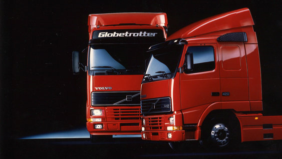 The Volvo FH in its red launch colour